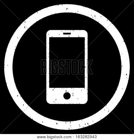 Smartphone rubber seal stamp watermark. Icon vector symbol with grunge design and corrosion texture. Scratched white ink sign on a black background.
