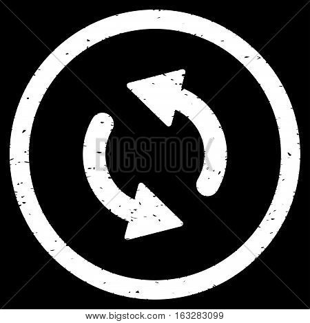 Update Arrows rubber seal stamp watermark. Icon vector symbol with grunge design and dust texture. Scratched white ink emblem on a black background.