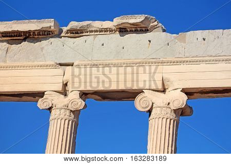 Ionic columns of the Erechtheion, Athens, Greece