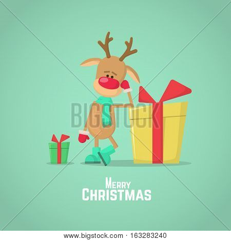 Christmas Reindeer And Present. Vector Illustration