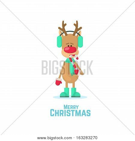 Christmas Reindeer Eat Candy. Vector Illustration