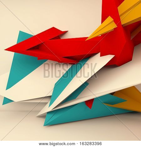 Abstract Square 3D Polygons Render