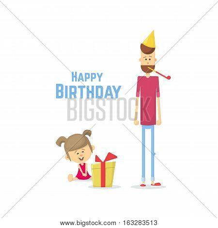 Birthday Daughter. Flat Vector Illustration.