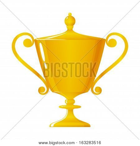 Cup of winner, gold trophy cup on white background