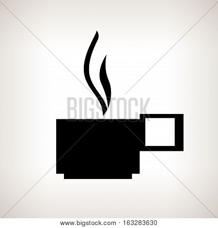Silhouette cup with a hot drink, steam rises over a mug, a cup of coffee or a mug of tea, black and white illustration