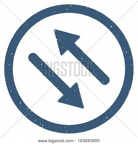 Diagonal Flip Arrows rubber seal stamp watermark. Icon vector symbol with grunge design and unclean texture. Scratched blue ink sticker on a white background.
