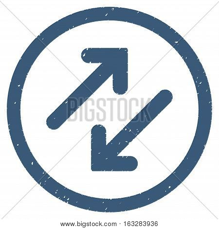Diagonal Flipping Arrows rubber seal stamp watermark. Icon vector symbol with grunge design and corrosion texture. Scratched blue ink sticker on a white background.