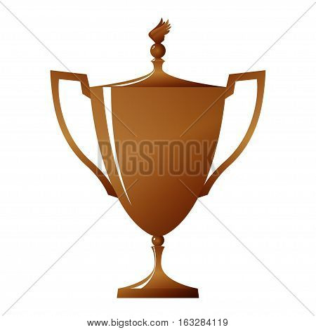 Cup of winner, bronzed trophy cup on white background