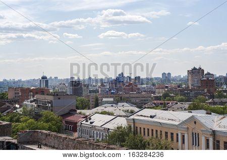 KIEV UKRAINE - Top view of Kiev city from skyscraper roof