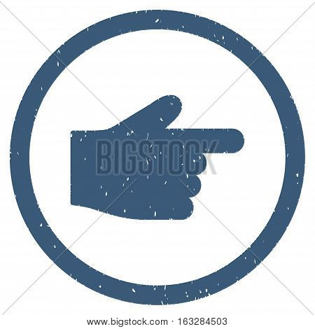 Index Finger rubber seal stamp watermark. Icon vector symbol with grunge design and corrosion texture. Scratched blue ink emblem on a white background.
