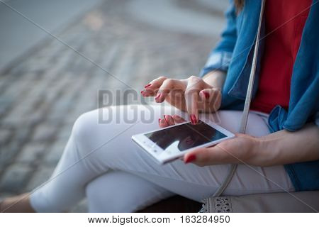 Woman Texting. Closeup Young Happy Smiling Cheerful Beautiful Woman Girl Looking At Mobile Cell Phon