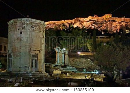 Parthenon construction in Acropolis Hill in Athens - North Slope, Greece
