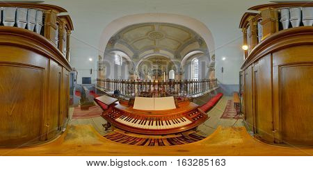 GHERLA, ROMANIA - November 13th, 2016: 360 panorama from the organist's point of view of Saint Peter's Church interior