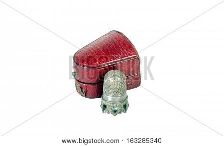 Vintage Thimble And Red Case On White Background