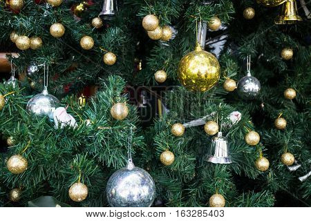 Christmas decoration on the tree stock photo