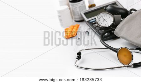 medical equipment with copy space on white background