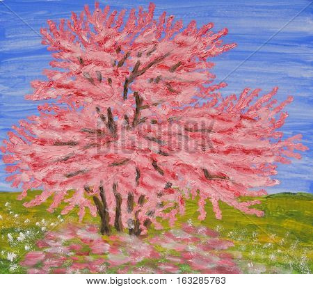 Cercis tree in blossom in spring, oil painting
