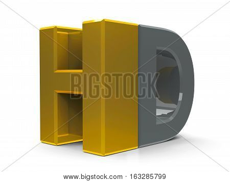 Gold and gray HD text symbol icon or button isolated on white background three-dimensional rendering 3D illustration