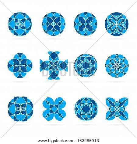 Vector set of geometric shapes. Round blue mosaic ornaments and symbols for logos or decorations