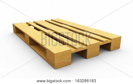Wooden pallet. 3d rendered illustration. Isolated on white background. Clipping path included