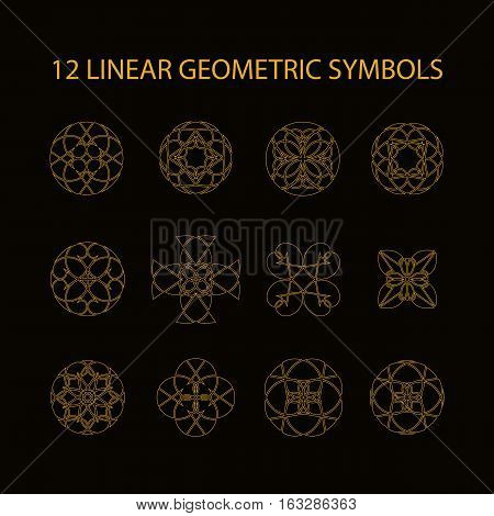 Vector set of 12 linear geometric symbols