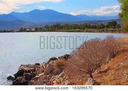 Beach on the lake Orestiada in the Kastoria Prefecture of Macedonia, northwestern Greece