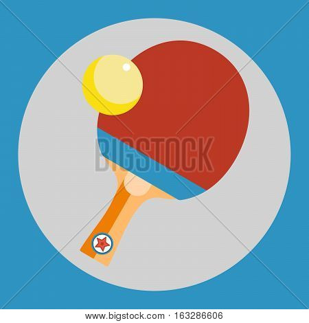 Ping pong racket icon. Red Ping pong racket on a blue background. Sports Equipment. Vector Illustration