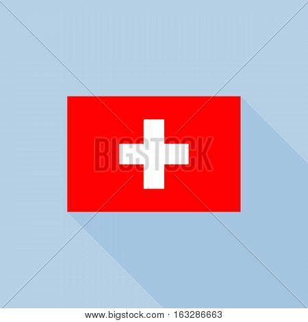 Switzerland flag , flat design vector with official proportion