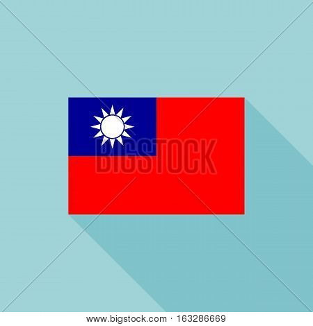 Taiwan flag , flat design vector with official proportion