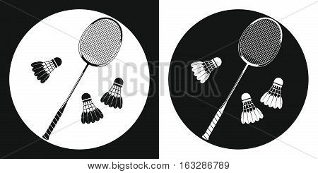Badminton racquet icon. Silhouette tennis racquet and three badminton shuttlecock on a black and white background. Sports Equipment. Vector Illustration