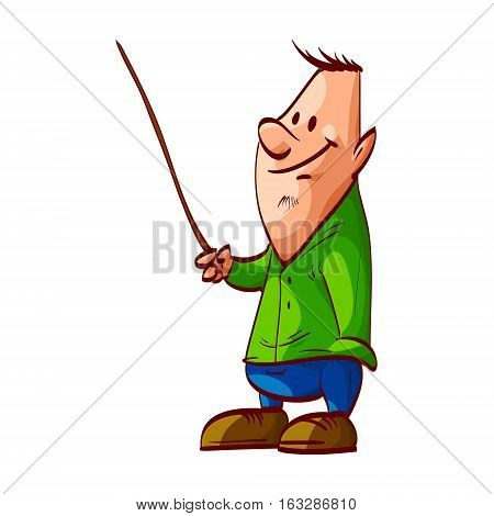 Colorful vector illustration of an average guy presenting with a pointer
