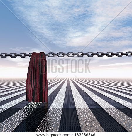 Closed frontier with chain and cloth 3D Illustration