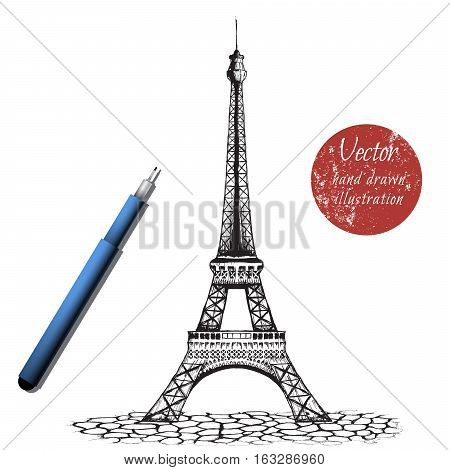 eiffel tower on white background.Handcrafted by ink.Stock vector