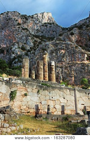 Famous temple of Apollo in Delphi, Greece