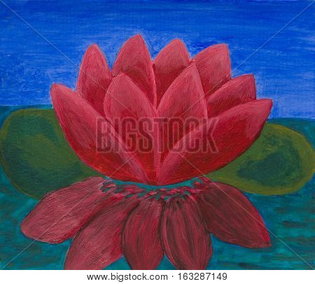 Crimson water lily on water, oil painting