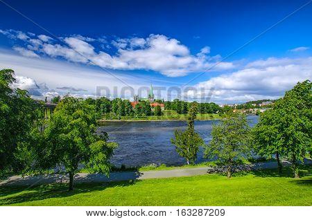 Nidarosdomen - Nidaros Cathedral near Nidelva river landscapein Trondheim, Norway