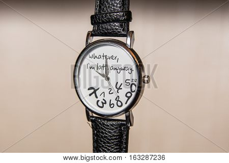 Funny wristwatch that say
