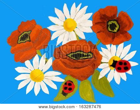 Red poppies and camomiles ox-eye daisy on blue background, oil painting.