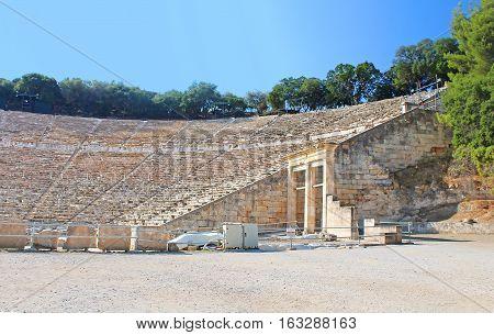 Famous ancient theatre of Epidaurus in Greece