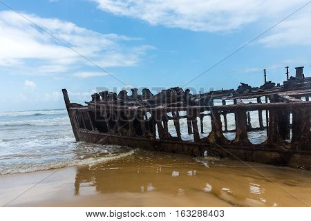 Fraser Island - February 29, 2016: The shipwrecked liner S.S. Maheno on the coast of Fraser Island in Queensland, Australia