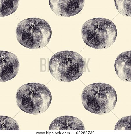 Seamless pattern with apples drawn by hand with pencil. Healthy vegan food. Fresh tasty fruits painted from nature. Tinted black and white