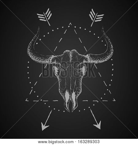 Skull of bull with horns.Vector vintage label.Retro design.Isolated on black background.Vector