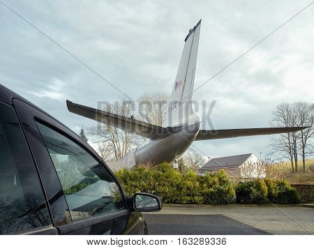 Petrovice Ustecky kraj Czech republic - december 10 2016: rear part of the old airliner Tupolev T-104 today functioning as a restaurant