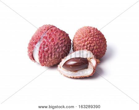 Lychee Fruits Isolated On White Background