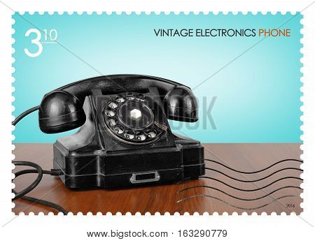 A fake post stamp shows image of retro phone Fake series Vintage electronics.