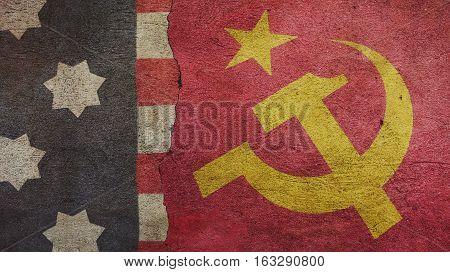 Usa Flag and Urss Flag on Cracked Concrete