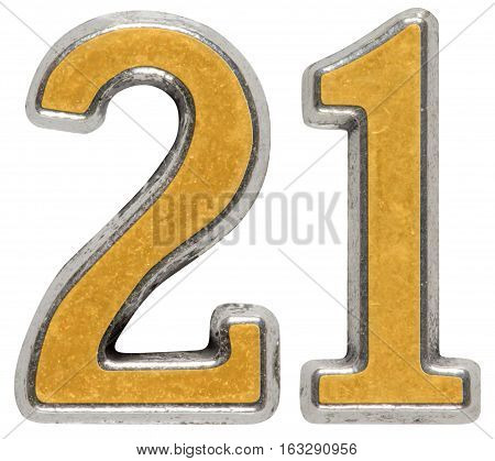 Metal Numeral 21, Twenty-one, Isolated On White Background