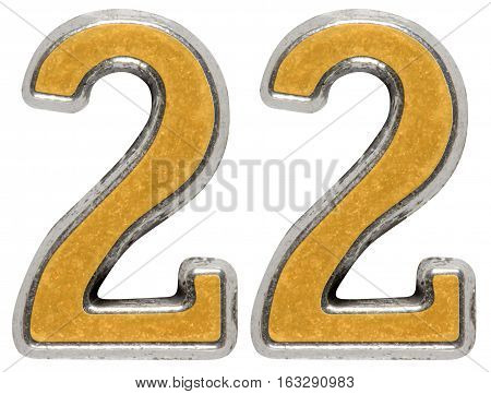 Metal Numeral 22, Twenty-two, Isolated On White Background
