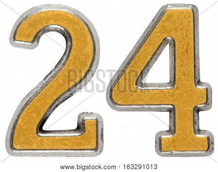 Metal Numeral 24, Twenty-four, Isolated On White Background