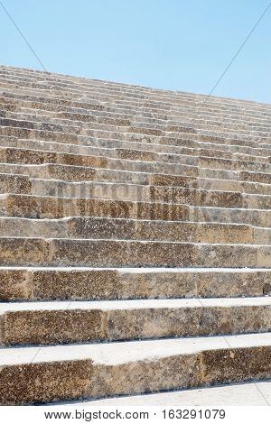 Stone staircase in famous Greek temple Lindos Acropolis Rhodes Athena Temple Greece